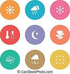 plat, style, temps, conception, icônes