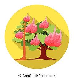 plat, style, toile, brûler, vecteur, forêt, icône