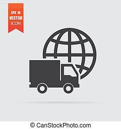 plat, style, transport, isolé, gris, arrière-plan., international, icône
