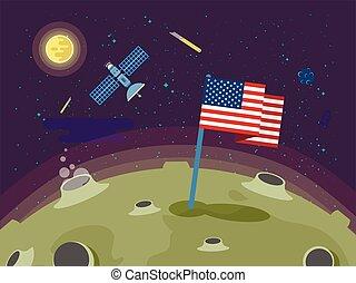 plat, style, usa, illustration, lune, collé, drapeau, surface