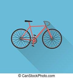 plat, style, vélo, icône