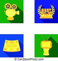 plat, style, vecteur, formulaire, récompense, icônes, tv, symbole, web., collection, autre, illustration, appareil-photo., types, prizes.movie, prix, argent, bronze, stockage
