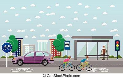 plat, style, vecteur, groupe, vélo, bikes., illustration, ligne., rue, vélo, cavaliers, design.