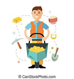 plat, style, vecteur, or, coloré, miner., dessin animé, ...