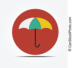 plat, style, vecteur, parapluie, icône