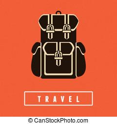 plat, style, vecteur, sac à dos, icône