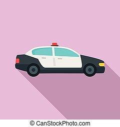 plat, style, voiture reconnaissance, icône, police