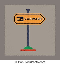 plat, style, voiture, signe, laver, ombrager, icône