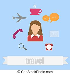 plat, style, voyage, icône