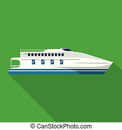plat, style, yacht, luxe, icône, bateau
