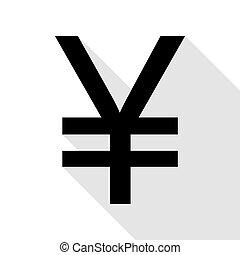plat, style, yen, signe., noir, ombre, path., icône
