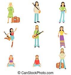 plat, subculture, ensemble, classique, habillé, woodstock, années soixante, vecteur, clothes., hippy, hippies