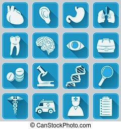 plat, subjec, carrée, icônes médicales