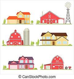 plat, suburbain, house., américain, vecteur, icône