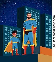 plat, superhero, famille, affiche