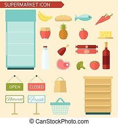 plat, supermarkt, pictogram