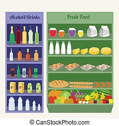 plat, supermarkt, planken