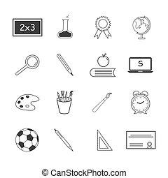 plat, sur, ensemble, school., icônes, vecteur
