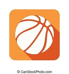 plat, symbole, boule basket-ball, icône