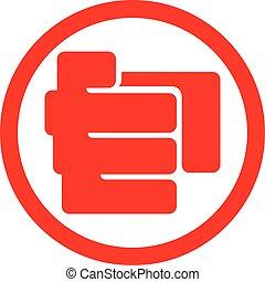 plat, symbole, doigt indique, icône