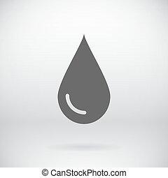 plat, symbole, goutte, signe, eau, vecteur, fond, sauver