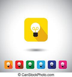 plat, symbole, -, idée, vecteur, conception, ampoule, blanc, icône