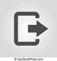 plat, symbole., sac, sortie, logout, rendement, sortie, icon., dehors