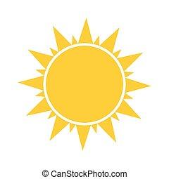 plat, symbole, soleil, ou, icône
