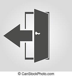 plat, symbole., sortie, sortie, rendement, logout, icon., dehors
