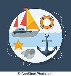 plat, symbolen, ontwerp, marinier, style., kaart