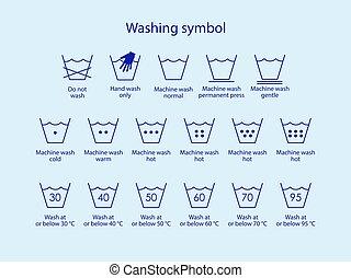 plat, symbols., design., illustration, vecteur, lavage, symboles, lessive