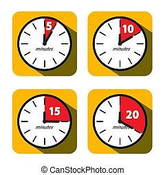 plat, symbols., dix, quinze, vingt, set., horloge, minuteur, vecteur, conception, icons., temps, cinq, minutes
