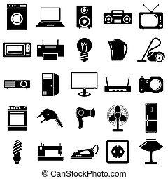 plat, symbols., illustration., artikelen & hulpmiddelen, vector, elektrisch, icons., verzameling