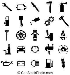 plat, symbols., illustration., voiture, icons., vecteur, collection