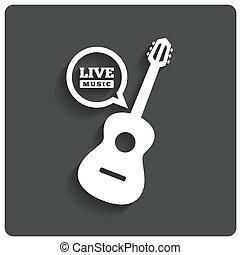 plat, symbool., gitaar, leven muziek, akoestisch, icon., pictogram