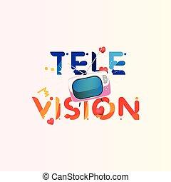 plat, tã©lã©viseur, concept, eps10, tv, typographie, illustration, vecteur, hearts., retro, news., original, rouges