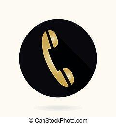 plat, téléphone, vecteur, récepteur, amende, icône