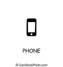 plat, téléphonez icône, vecteur