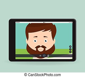 plat, tablet, scherm, vector, video, roepen