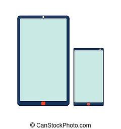 plat, tablette, arrière-plan., mobile, illustration, téléphone, vecteur, icon., blanc