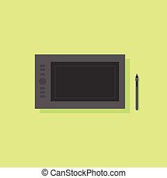 plat, tablette graphique, vecteur, conception, icône