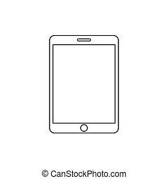 plat, tablette, illustration, arrière-plan., vecteur, blanc, icône, design.