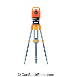 plat, tacheometer, équipement, recherche, illustration, ingénierie, trépied, géologique, mesure, vecteur, enquête, style