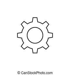 plat, tandwiel, illustratie, vector, ontwerp, pictogram, schets