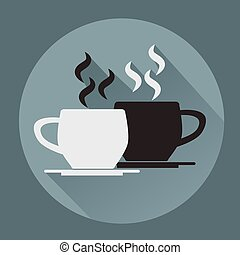 plat, tasse à café, arrière-plan., noir, blanc, icône
