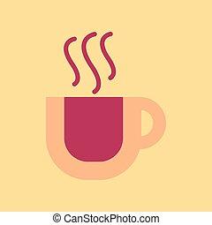 plat, tasse à café, fond, saveur, icône