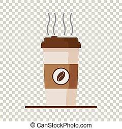 plat, tasse à café, isolé, illustration, arrière-plan., vecteur, haricots, icône