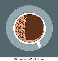 plat, tasse à café, sommet, arrière-plan., noir, blanc, vue