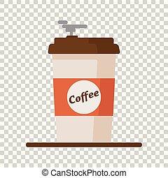 plat, tasse à café, texte, isolé, illustration, arrière-plan., vecteur, icône