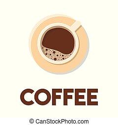 plat, tasse, café, illustration, vecteur, conception, fond, blanc